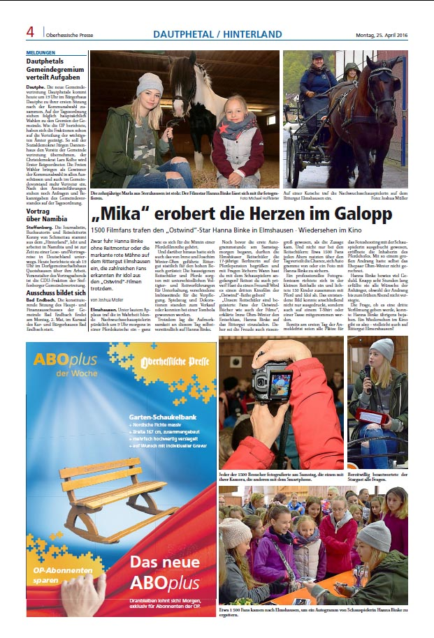 Oberhessische Presse, 26. April 2016
